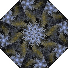 Fractal Wallpaper With Blue Flowers Hook Handle Umbrellas (Small)