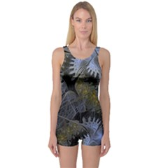 Fractal Wallpaper With Blue Flowers One Piece Boyleg Swimsuit
