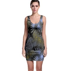 Fractal Wallpaper With Blue Flowers Sleeveless Bodycon Dress