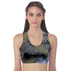 Fractal Wallpaper With Blue Flowers Sports Bra