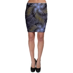 Fractal Wallpaper With Blue Flowers Bodycon Skirt