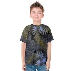 Fractal Wallpaper With Blue Flowers Kids  Cotton Tee
