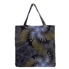 Fractal Wallpaper With Blue Flowers Grocery Tote Bag