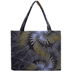 Fractal Wallpaper With Blue Flowers Mini Tote Bag