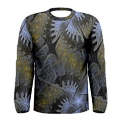 Fractal Wallpaper With Blue Flowers Men s Long Sleeve Tee