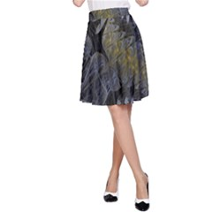Fractal Wallpaper With Blue Flowers A-Line Skirt
