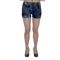 Fractal Wallpaper With Blue Flowers Skinny Shorts