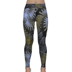 Fractal Wallpaper With Blue Flowers Classic Yoga Leggings