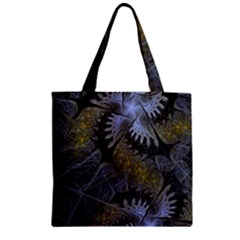 Fractal Wallpaper With Blue Flowers Zipper Grocery Tote Bag