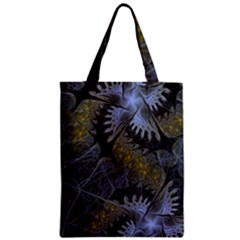 Fractal Wallpaper With Blue Flowers Zipper Classic Tote Bag