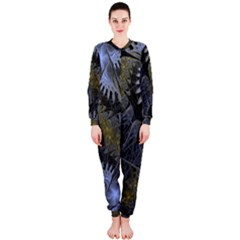 Fractal Wallpaper With Blue Flowers OnePiece Jumpsuit (Ladies)