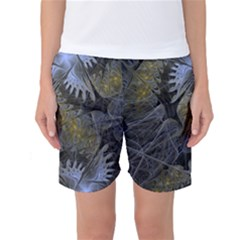 Fractal Wallpaper With Blue Flowers Women s Basketball Shorts