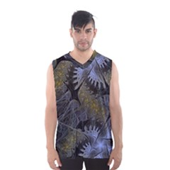 Fractal Wallpaper With Blue Flowers Men s Basketball Tank Top