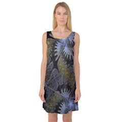 Fractal Wallpaper With Blue Flowers Sleeveless Satin Nightdress