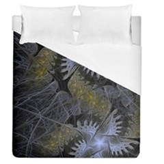 Fractal Wallpaper With Blue Flowers Duvet Cover (Queen Size)