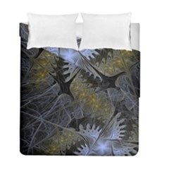 Fractal Wallpaper With Blue Flowers Duvet Cover Double Side (Full/ Double Size)