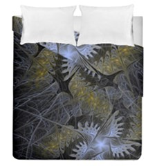 Fractal Wallpaper With Blue Flowers Duvet Cover Double Side (Queen Size)
