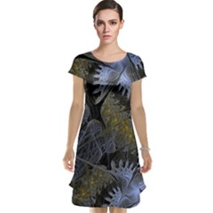 Fractal Wallpaper With Blue Flowers Cap Sleeve Nightdress