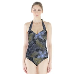 Fractal Wallpaper With Blue Flowers Halter Swimsuit
