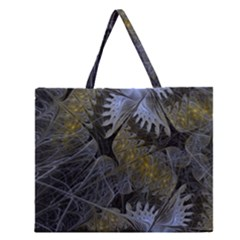 Fractal Wallpaper With Blue Flowers Zipper Large Tote Bag