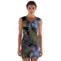 Fractal Wallpaper With Blue Flowers Wrap Front Bodycon Dress