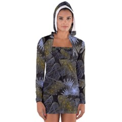 Fractal Wallpaper With Blue Flowers Women s Long Sleeve Hooded T-shirt