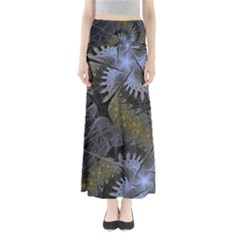 Fractal Wallpaper With Blue Flowers Maxi Skirts