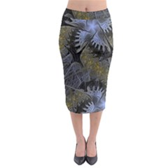 Fractal Wallpaper With Blue Flowers Midi Pencil Skirt