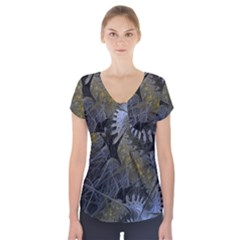 Fractal Wallpaper With Blue Flowers Short Sleeve Front Detail Top
