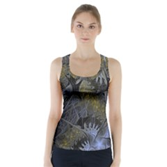 Fractal Wallpaper With Blue Flowers Racer Back Sports Top