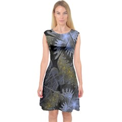 Fractal Wallpaper With Blue Flowers Capsleeve Midi Dress