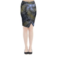 Fractal Wallpaper With Blue Flowers Midi Wrap Pencil Skirt