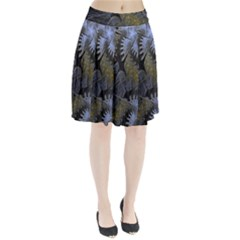 Fractal Wallpaper With Blue Flowers Pleated Skirt