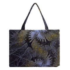 Fractal Wallpaper With Blue Flowers Medium Tote Bag