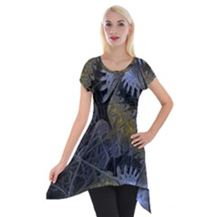 Fractal Wallpaper With Blue Flowers Short Sleeve Side Drop Tunic