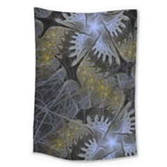 Fractal Wallpaper With Blue Flowers Large Tapestry