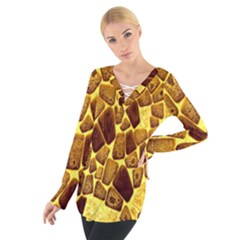 Yellow Cast Background Women s Tie Up Tee by Amaryn4rt