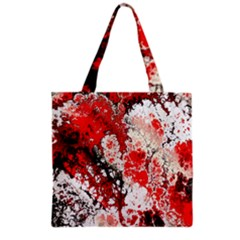 Red Fractal Art Grocery Tote Bag by Amaryn4rt