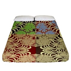 Multicolor Fractal Background Fitted Sheet (queen Size)