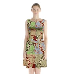Multicolor Fractal Background Sleeveless Chiffon Waist Tie Dress by Amaryn4rt