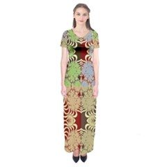 Multicolor Fractal Background Short Sleeve Maxi Dress by Amaryn4rt