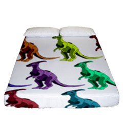 Multicolor Dinosaur Background Fitted Sheet (queen Size)