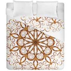Golden Filigree Flake On White Duvet Cover Double Side (california King Size) by Amaryn4rt
