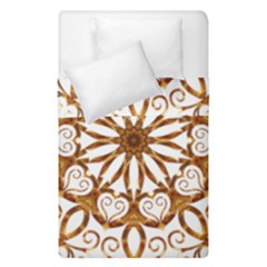Golden Filigree Flake On White Duvet Cover Double Side (single Size) by Amaryn4rt