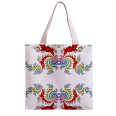 Fractal Kaleidoscope Of A Dragon Head Grocery Tote Bag by Amaryn4rt