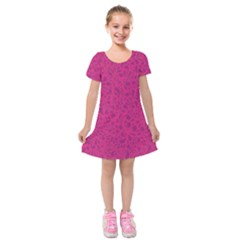 Pink Pattern Kids  Short Sleeve Velvet Dress by Valentinaart