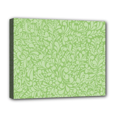Green Pattern Deluxe Canvas 20  X 16   by Valentinaart