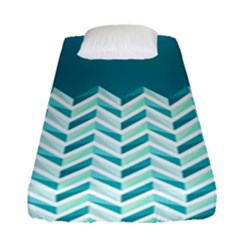 Zigzag Pattern In Blue Tones Fitted Sheet (single Size) by TastefulDesigns