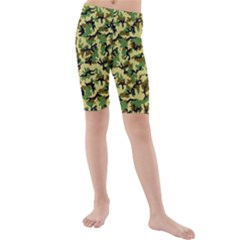Camo Woodland Kids  Mid Length Swim Shorts by sifis
