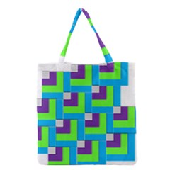 Geometric 3d Mosaic Bold Vibrant Grocery Tote Bag by Amaryn4rt